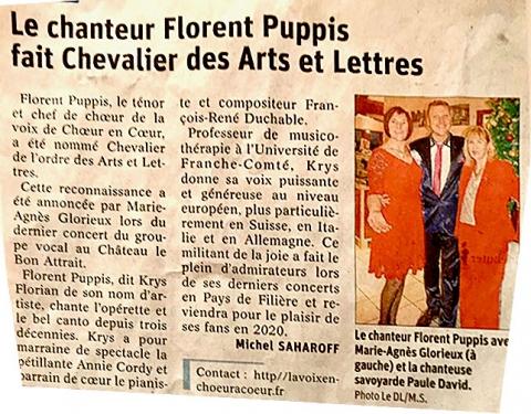 Le chanteur Florent Puppis fait Chevalier des Arts et Lettres