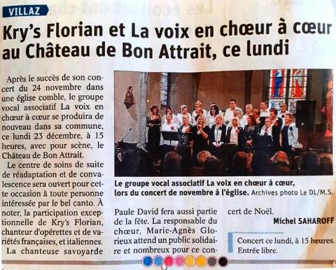 Kry's Florian et La voix en choeur à coeur au Châteaux de Bon Attrait, ce lundi